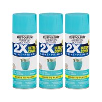 (3 Pack) Rust-Oleum American Accents Ultra Cover 2X Satin Seaside Spray Paint and Primer in 1, 12 oz