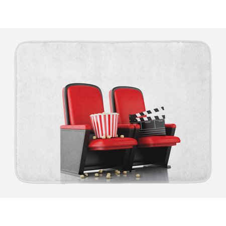 Movie Theater Bath Mat, 3D Illustration Cinema Concept Clapper Board and Popcorn on Theater Seat, Non-Slip Plush Mat Bathroom Kitchen Laundry Room Decor, 29.5 X 17.5 Inches, Red Black White,
