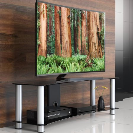 FITUEYES 2-Tier Curved Tempered Glass TV Stand Suit for 32 to 55 inch LCD LED Flat Panel & Curved TV's(TS213001GB)