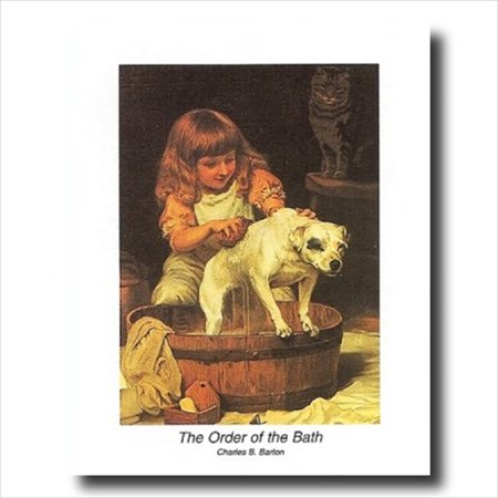 Victorian Little Girl Gives Dog Bath Wall Picture Art