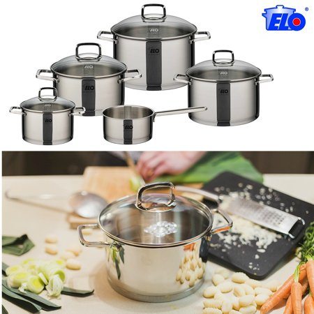 ELO Straight Line Stainless Steel 9 Piece Induction Cookware Pots & Pans Set