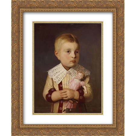 Albert Anker 2x Matted 20x24 Gold Ornate Framed Art Print 'Kind mit Puppe' (Schwarze Sonnenbrille Mit Gold)