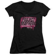 Fight Club - Project Mayhem - Juniors Cap Sleeve V-Neck Shirt - Small