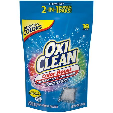 OxiClean Color Boost Color Brightener plus Stain Remover Power Paks, 18 (Vanish Oxi Action Crystal White On Colours)