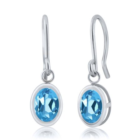 1.60 Ct Oval Swiss Blue Topaz 925 Sterling Silver French Wire Dangling Earrings