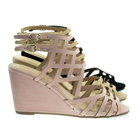 Behave By City Classified  Honeycomb Cage Sandal W Wedge   Double Ankle Strap  Gladiator Cutouts