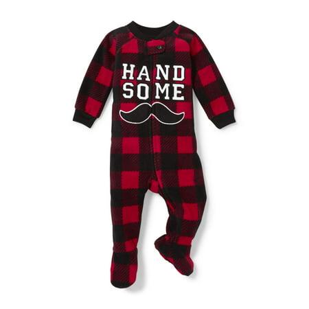 Long Sleeve 'Handsome' Plaid Footed Blanket Sleeper (Baby Boys & Toddler Boys) (Plaid Onesie)