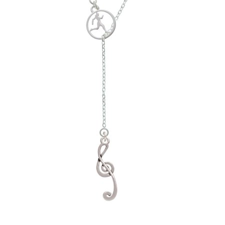 Long Lariat - Long Curly Clef Runner Disc Lariat Necklace