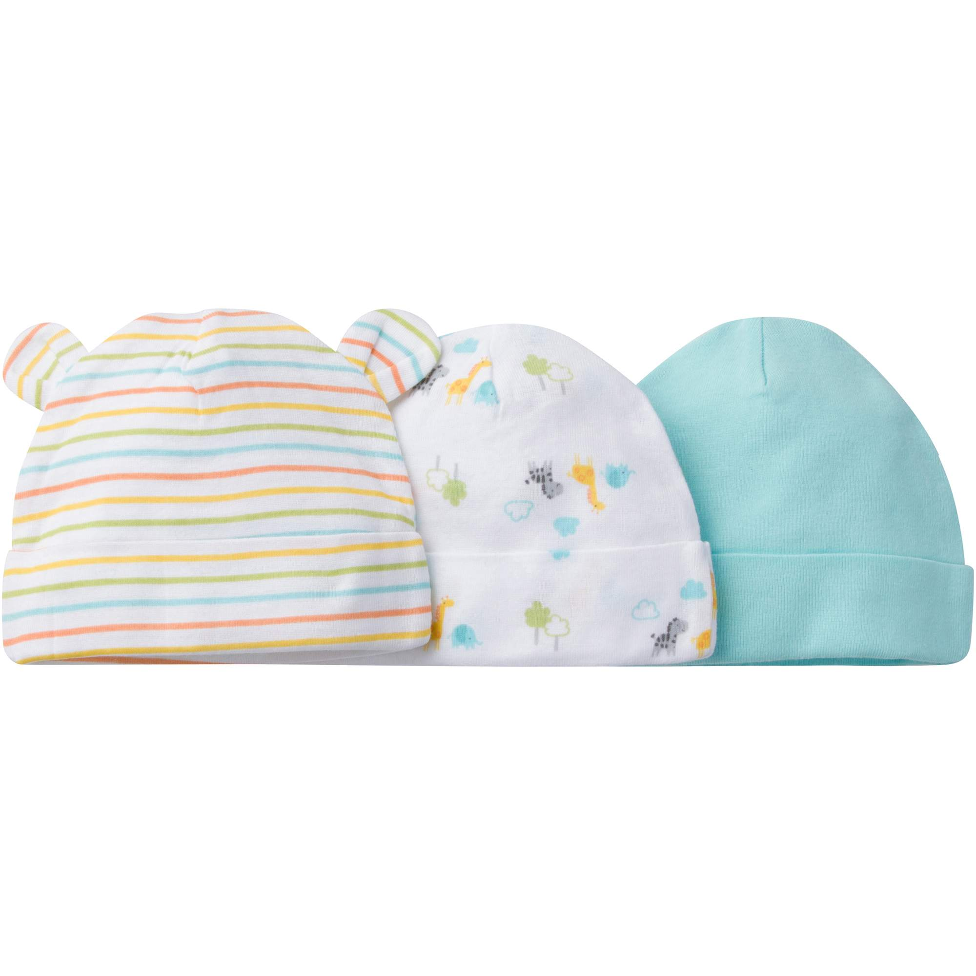 Image of Gerber Newborn Baby Boy or Girl Unisex Assorted Caps, 3-Pack