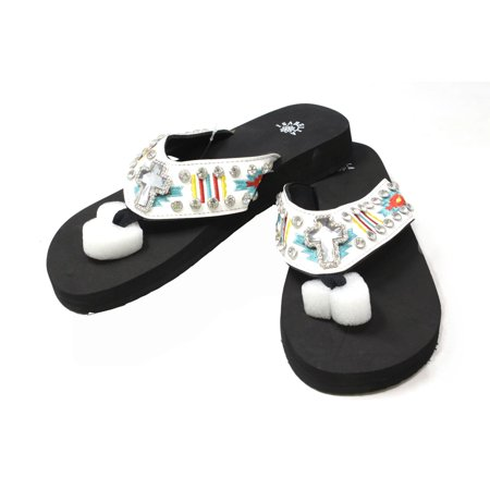 41caf2f8f750d5 Isabella - Isabella Western Women Rhinestone Concho Hand Beaded Studded  Embroidered White Strap Flip Flops Sandals - Walmart.com