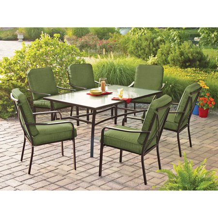 Mainstays Crossman 7-Piece Patio Dining Room Set, Green, Seats 6 by