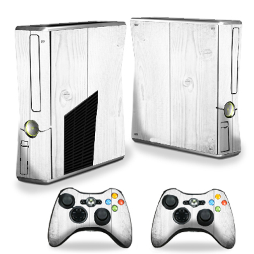 Mightyskins Protective Vinyl Skin Decal Cover for Microsoft Xbox 360 S Slim + 2 Controller skins wrap sticker skins White Wood