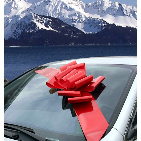Car Bow (Big Red Car Bow Ribbon - Large Gift Decoration, Fully Assembled, 25