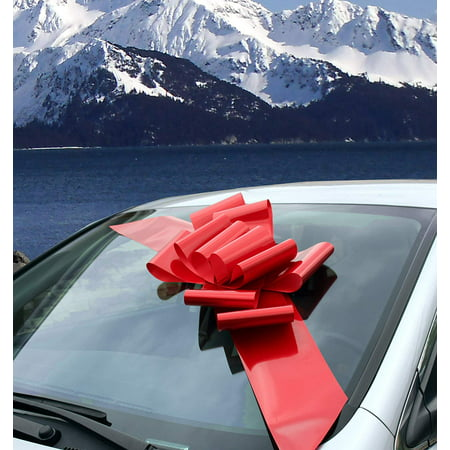Big Red Car Bow Ribbon - Large Gift Decoration, Fully Assembled, 25