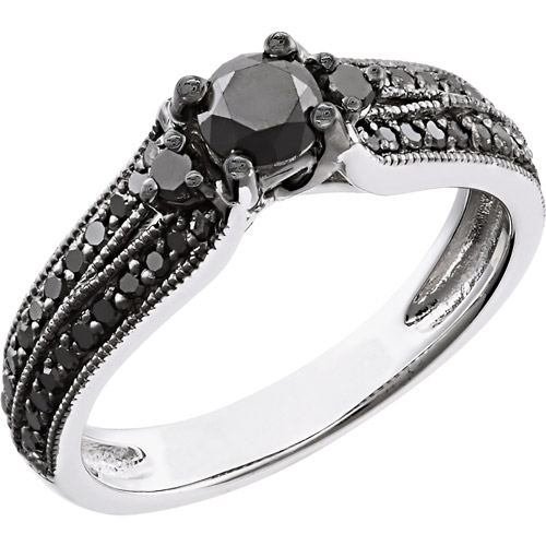 3/4 Carat T.W. Black Diamond Sterling Silver Engagement Ring (6.4mm)
