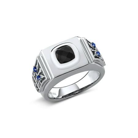 2.15 Ct Cushion Checkerboard Black Onyx Blue Created Sapphire 925 Silver Men's Ring