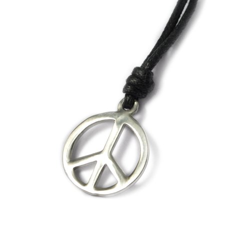 Small Peace Sign Silver Pewter Charm Necklace Pendant Jewelry With Cotton Cord