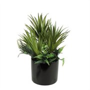 """9.75"""" Potted Artificial Mixed Green Succulent and Fern Arrangement"""