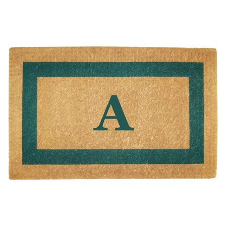 Inspired Accents Heavy Duty Coco Mat, Green Single Picture Frame, Monogrammed