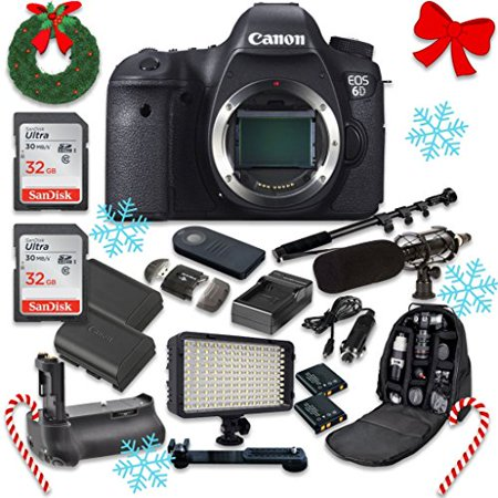 - Canon EOS 6D 20.2 MP Full Frame CMOS Digital SLR DSLR Camera (Body Only) with 2pc SanDisk 32GB Memory Cards + Battery Power Grip + Special Promotional Holiday Accessory Bundle