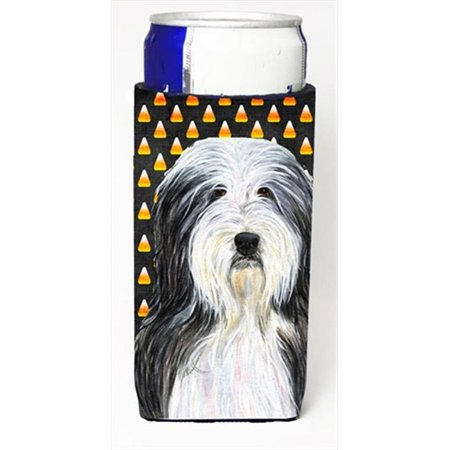 Bearded Collie Candy Corn Halloween Portrait Michelob Ultra bottle sleeves For Slim Cans - 12 Oz. - Bearded Characters Halloween