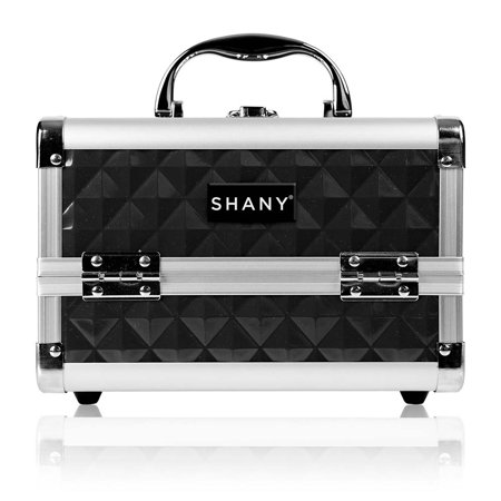 SHANY Mini Makeup Train Case with Mirror in Black and Silver Frame ()