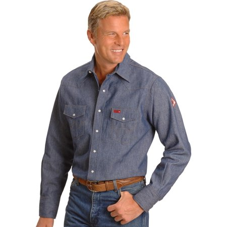 Men's Flame Resistant Work Western Shirt - (Denim Western Snap)