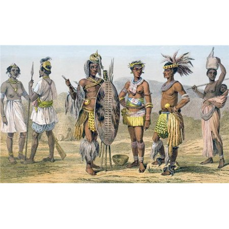 Africans In Tribal Costume First Two Left Gambians Next Three Zulus Right Woman From Botswana From the Modern Cyclopedia Poster Print, 18 x 11 - image 1 of 1