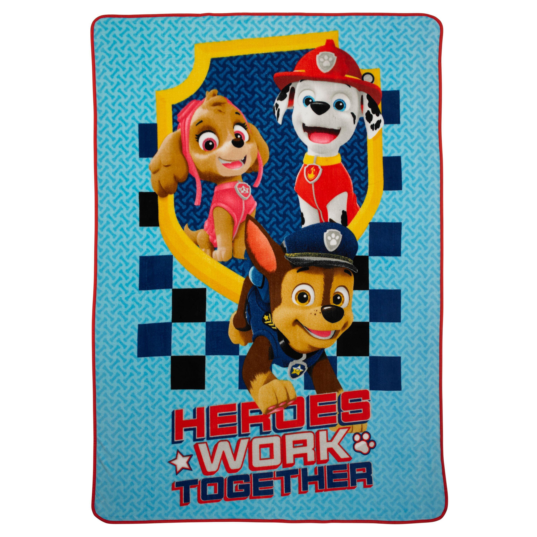 """Paw Patrol Heroes Work Together 62"""" x 90"""" Kids Bedding Blanket, 1 Each"""