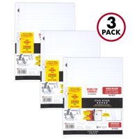 """Five Star Reinforced Filler Paper, Wide Ruled, 10 """" x 8"""", 100 Sheets/Pack, 3 Pack (38033)"""