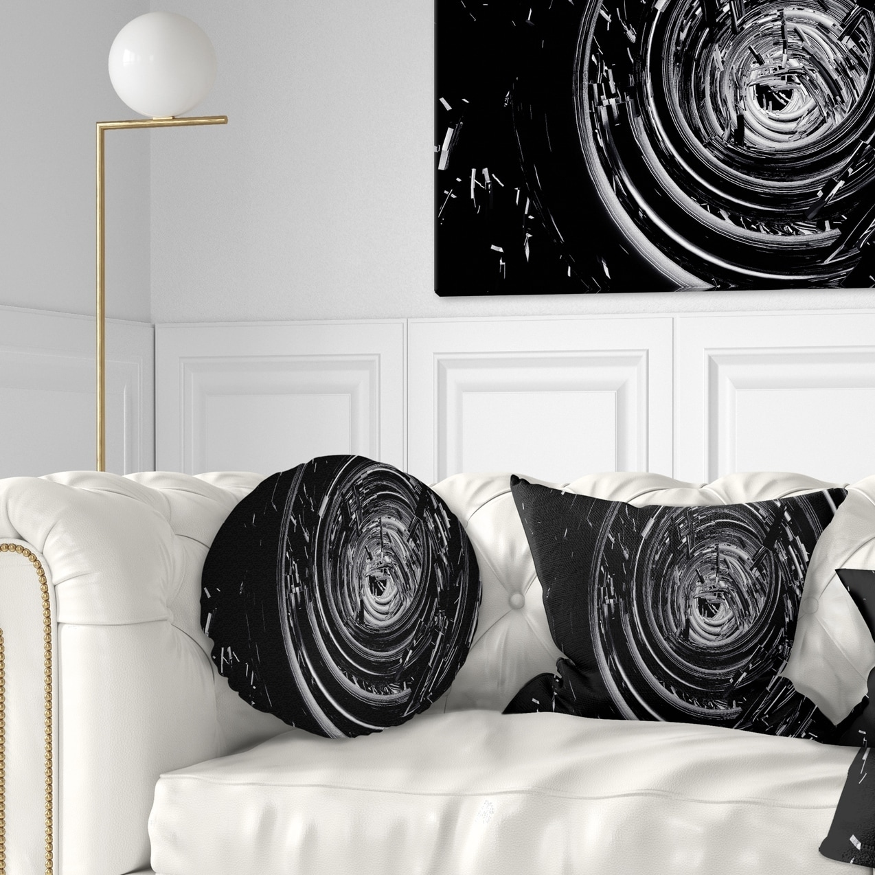 Design Art Designart Fractal 3d Black Whirlwind Contemporary Throw Pillow Walmart Com Walmart Com