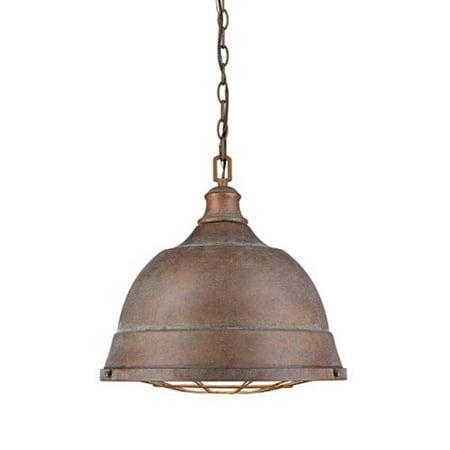 Solid Copper Designer Pendant - Fulton Copper Patina Two-Light Cage Pendant