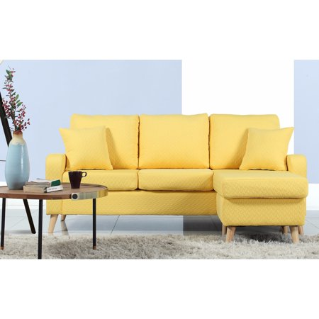 Madison Home Mid-Century Modern Small Space Sectional Sofa with Reversible  Chase
