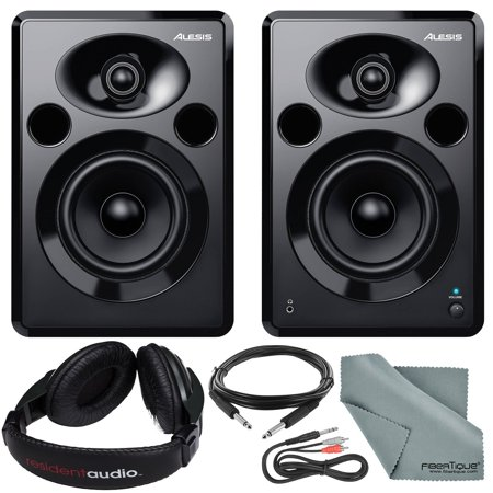 - Alesis Elevate 5 MKII 80W 5 Two-Way Active Desktop Studio Speakers and Accessory Bundle w/ Headphones + Cables + Fibertique Cloth