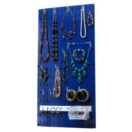 Jewelry Organizer Wall Hanging Jewelry Holder Necklace Rack ?Çô Blue Wall Mounted Jewelry Organizer System The Jewelry Organizer Kit is a Wall-Mounted Jewelry Holder Organizer that offers high quality jewelry hanging storage and organization for necklaces, bracelets, earrings and other jewelry pieces and accessories. This wall-mounted hanging jewelry holder organizer is not only highly-functional but also easy to install and high-quality when it comes to appearance and construction. Wall Control has created a Jewelry Organizer for the jewelry collector that takes pride in their collection. Unlike cheaply made hanging vinyl jewelry organizers and jewelry holders, this jewelry organizer has a strong and durable, yet chic metal construction that features a high-quality powder-coated finish that will last a lifetime. This jewelry organizer is also magnetic so you can utilize all of your magnetic jewelry organization accessories such as magnetic jewelry organizers and magnetic mirrors. The Wall Control Jewelry Organizer offers over 3.5 square feet of wall-mounted jewelry storage and organization and thanks to the modular design, you can order more units to create a larger area as your jewelry collection expands. Wall Controls hanging jewelry organizer jewelry holder also accepts all of Wall Controls chic slotted hooks, shelves, bins, and accessories to cover all of your jewelry storage and organization needs today and in the future. (1) Blue 10-P-3216 - 32in T x 16in Wide Jewelry Organizer Slotted-Only Wall-Panel, (10) 1in Jewelry Holder Hooks, (4) 2in Jewelry Holder Hooks, (2) Curved Tip Jewelry Holder Hooks, (1) 14in Accessory Jewelry Hanger, (1) Hanging Jewelry Storage Bin. Accessories in White. Mounting Hardware and Instructions Included. Mounting hardware consists of (6) #12 Screws & (6) Drywall Anchors.