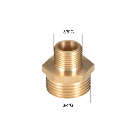"""Brass Pipe Fitting Reducing Hex Nipple 3/8""""x 3/4"""" G Male Pipe Brass Fitting 2pcs - image 3 of 4"""