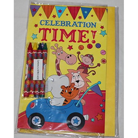 Paper Craft Childrens Color-Me-In Birthday Card, Celebration Time Circus (Childrens Halloween Birthday Games)