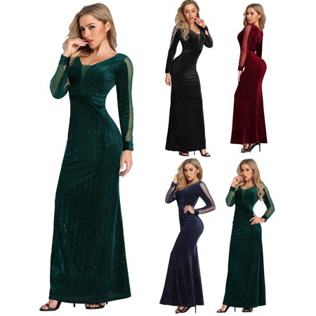 Ever-Pretty Women's Elegant Velvet Long Sleeve Winter Formal Long Evening Ball Gown Holiday Party Dresses for Women 07394 Black US 4