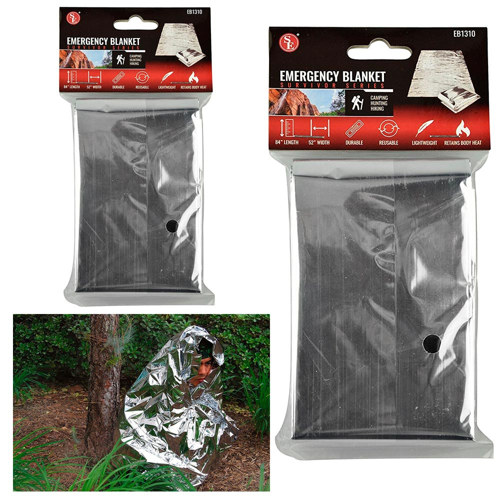 2 Emergency Space Blanket Survival Gear Bag Safety Camp Travel Outdoors Soft ! by SONA ENTERPRISES