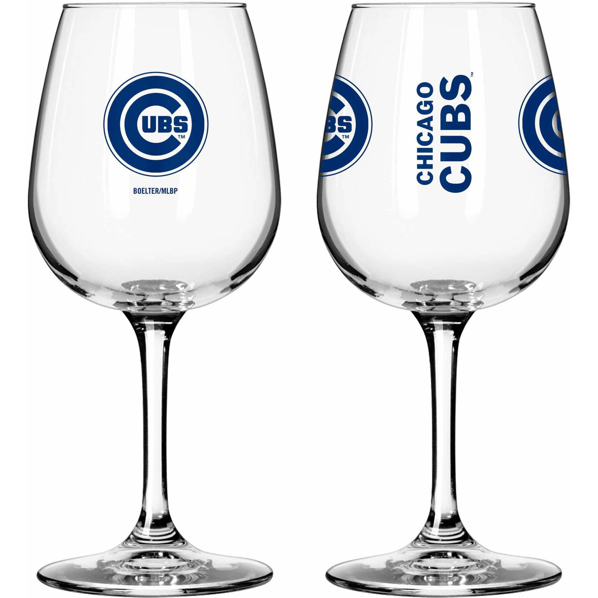 Boelter Brands MLB Set of Two 12 Ounce Wine Glass Set, Chicago Cubs