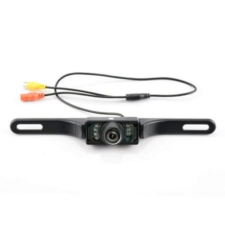 GTP Car Rear View Reversing Backup Camera Automotive HD CMOS 7 LED Lights Night Vision Waterproof Universal Car Backing Camera License Plate for Car RV Truck Pickup Van