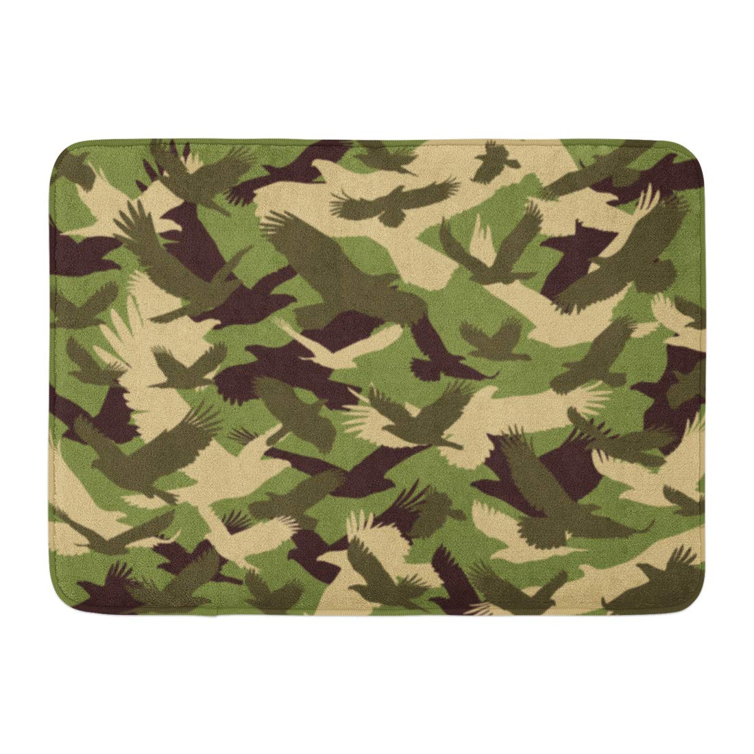 Camo Bathroom Rugs: GODPOK Green Eagle White Bird Camouflage Orange Abstract