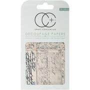 """Craft Consortium Decoupage Papers 13.75""""X15.75"""" 3/Pkg-Vintage Postcard Script"""