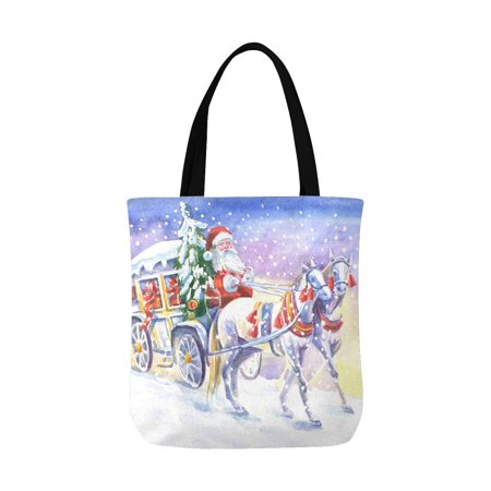 HATIART Christmas Santa Claus in Carriage and Horses Watercolor Painting Unisex Canvas Tote Canvas Shoulder Bag Resuable Grocery Bags Shopping Bags for Women Men Kids - image 1 of 3