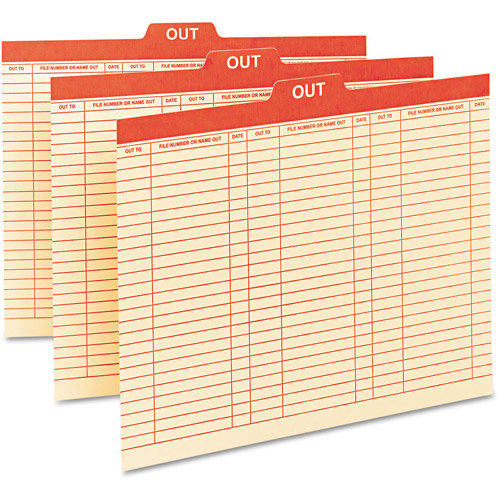 "Smead Charge-Out Record Guides, 1/5 Red ""OUT"" Tab, Manila, Letter, 100/Box"