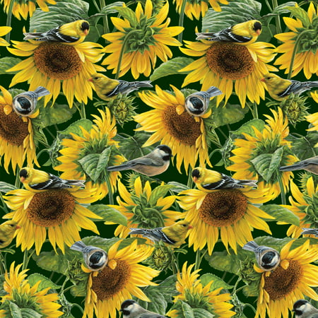 Scene Quilt Fabric - Sunflowers And Birds Quilting Cotton Fabric By The Yard, 44