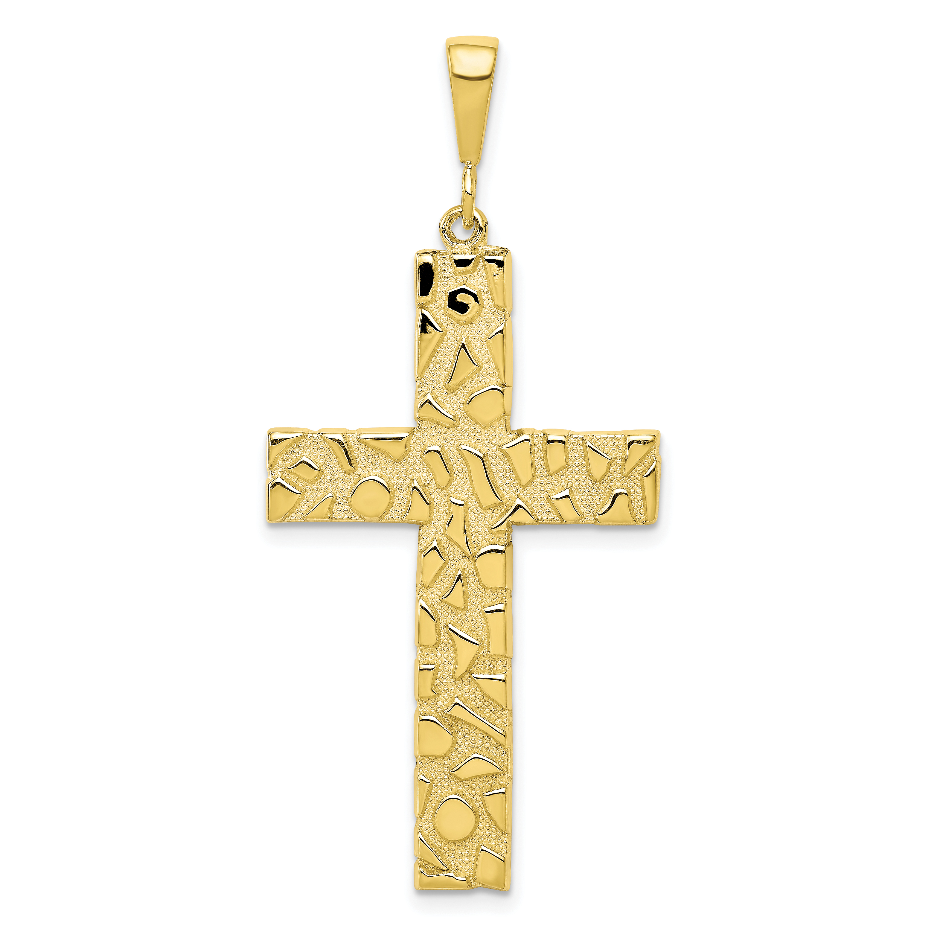 10k Yellow Gold Nugget Cross Religious Pendant Charm Necklace Latin Fine Jewelry Gifts For Women For Her - image 2 de 2