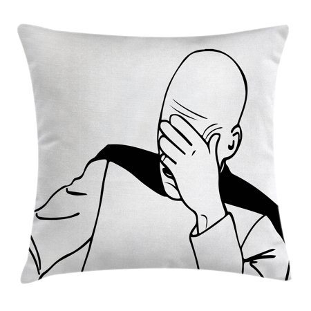 Humor Decor Throw Pillow Cushion Cover, Captain Picard Face Palm Troll Guy Meme Caption Super Fun Online Illustration, Decorative Square Accent Pillow Case, 16 X 16 Inches, Black White, by Ambesonne