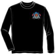First In Last Out Firefighter Long Sleeve T-shirt by , Black