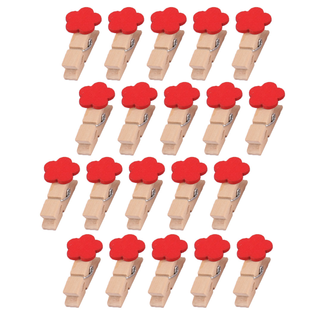 Wooden Flower Shaped DIY Decoration Picture Photo Painting Clip Red 20 Pcs